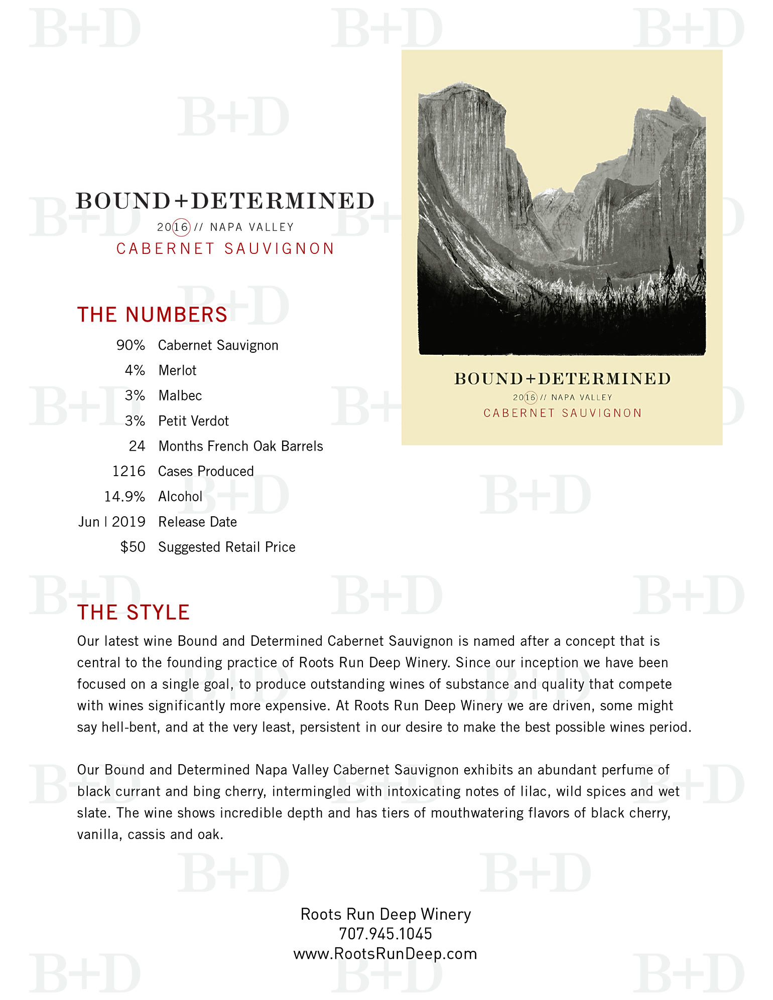 Bound and Determined Cabernet Tech Sheet