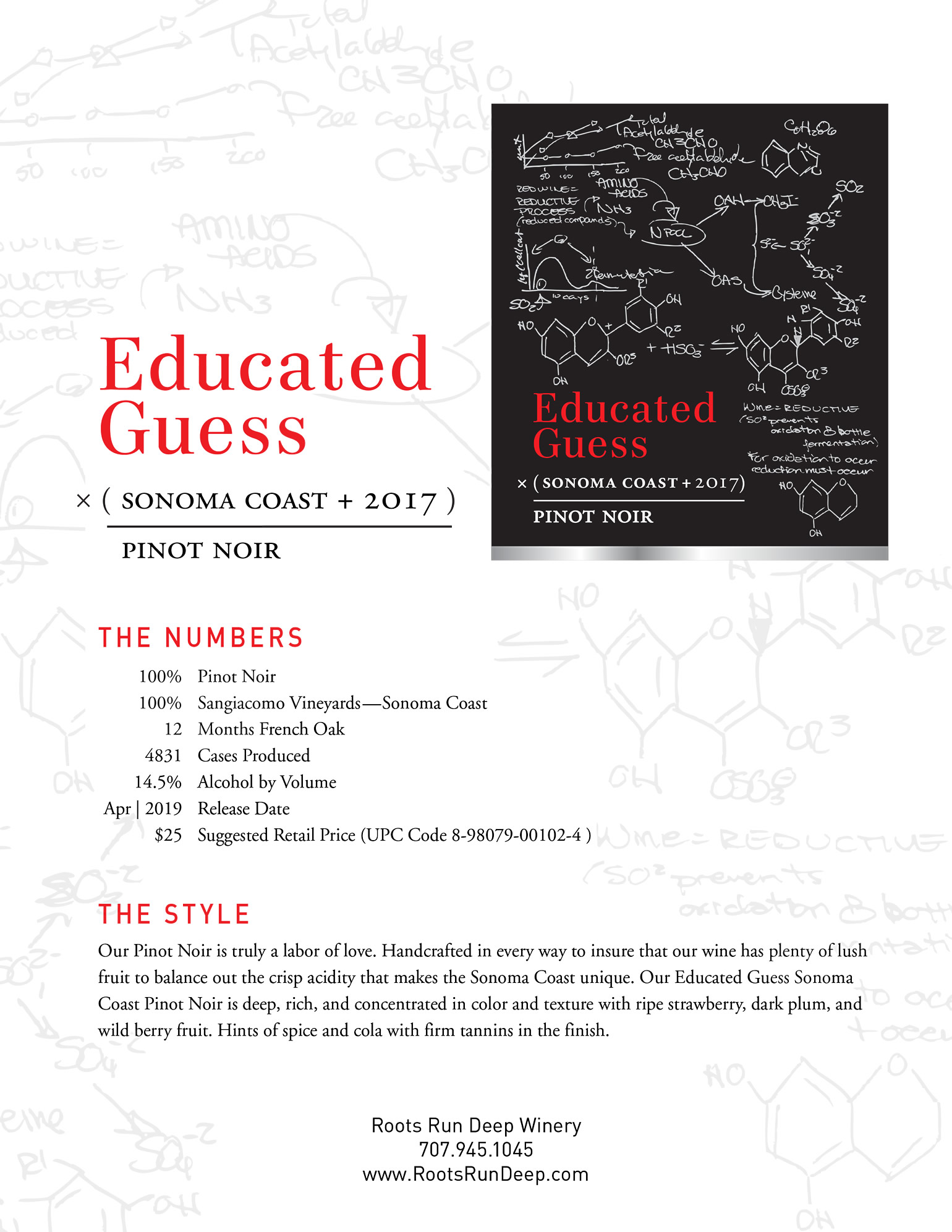 2017 Educated Guess Pinot Noir Tech Sheet