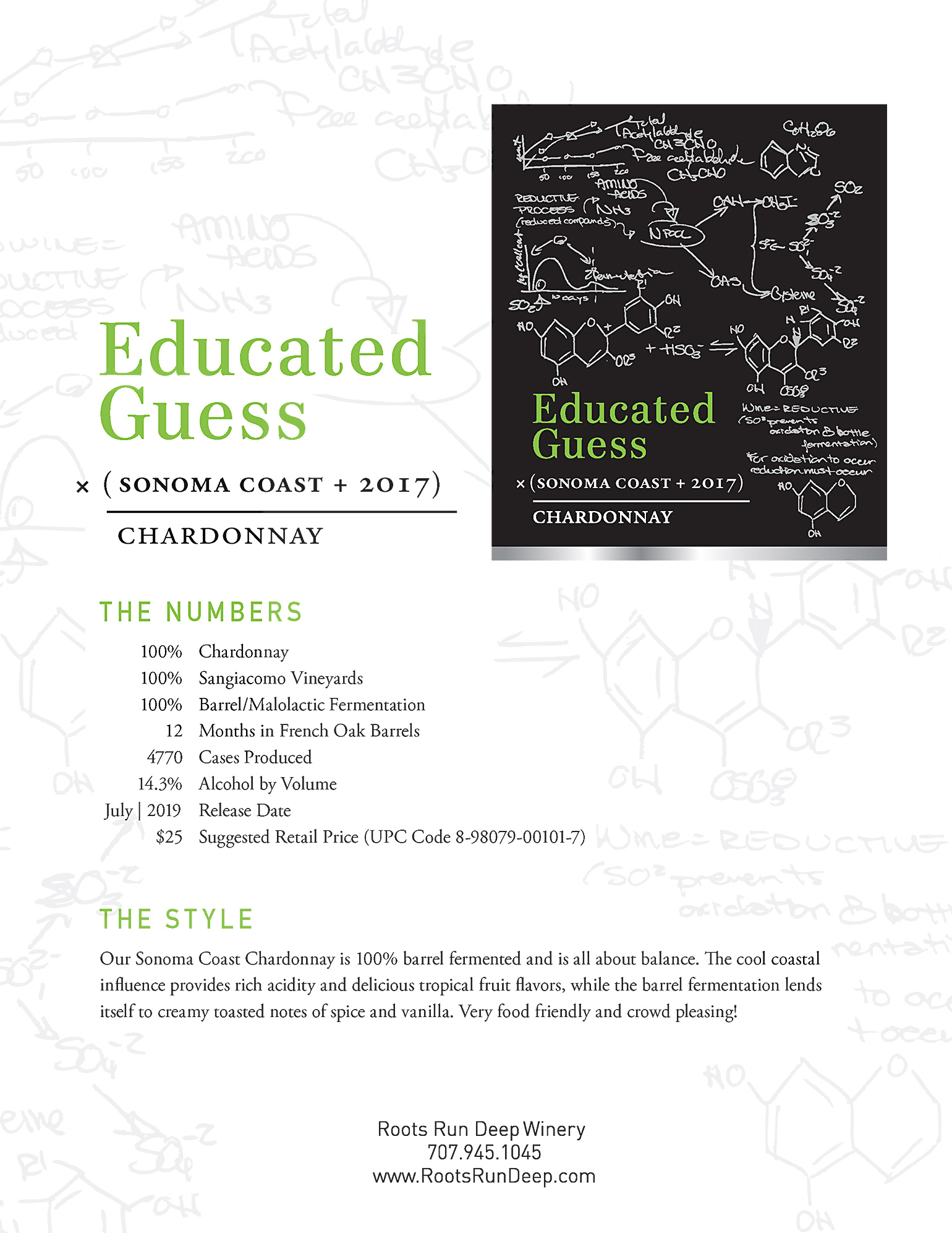 2017 Educated Guess Chardonnay Sonoma Coast Tech Sheet