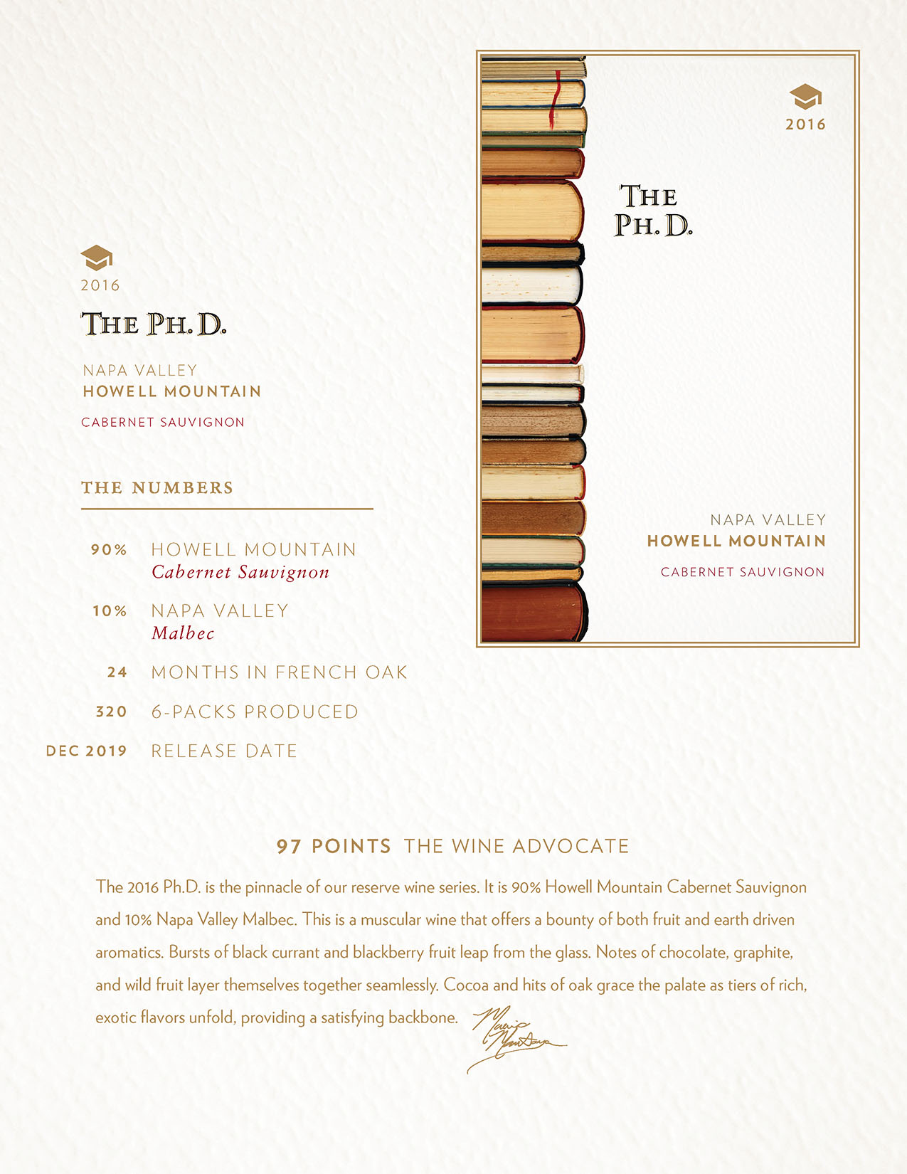 2016 PHD. Cabernet Sauvignon Tech Sheet