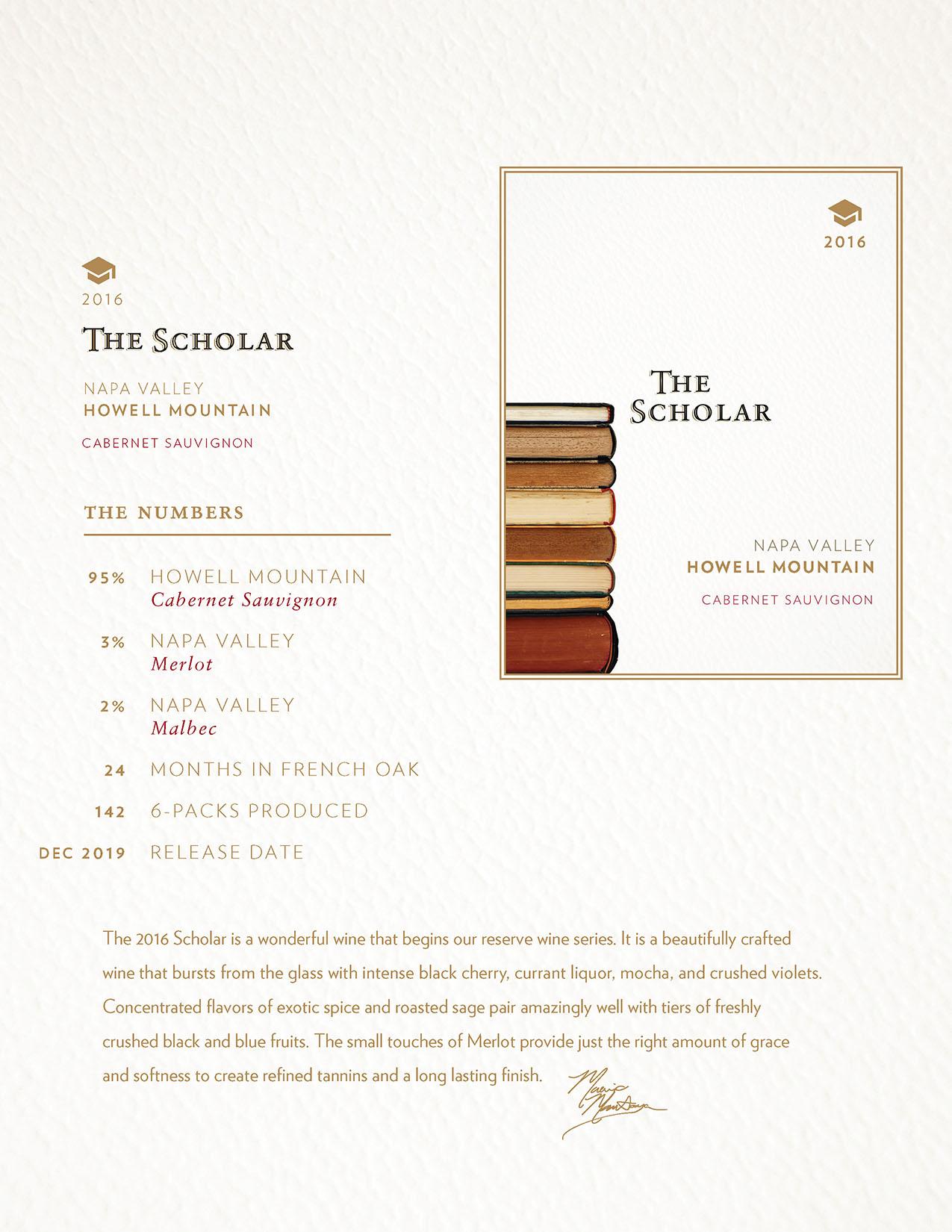 2016 Scholar Cabernet Sauvignon TechSheet