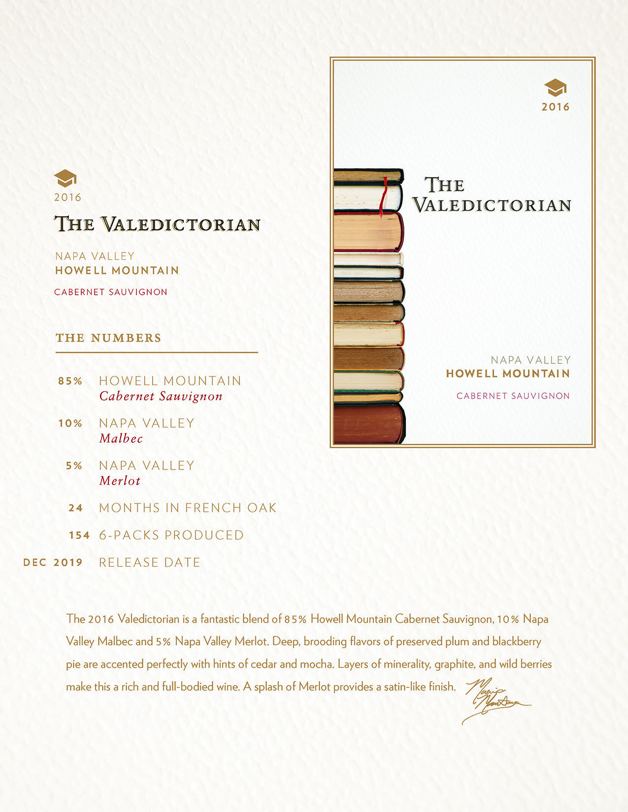 2016 Valedictorian Cabernet Sauvignon Tech Sheet